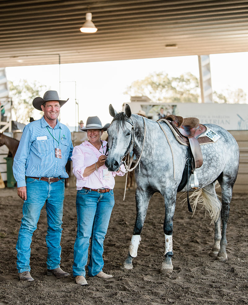 The top price Gelding lot 8 Doongara Power King sold for $28,500.00 offered by Glasshouse Country Farms, Wendy Maguire of Dalby QLD and purchased by Nastasi Performance Horses of Binna Burra NSW.